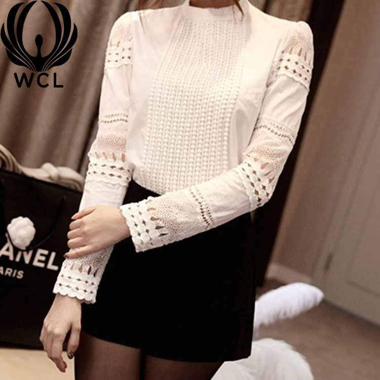 Breathable Slim-fit Cotton Hook Flower Casual Elegant Long-sleeved White Bottoming Blouses Hollow Lace Shirt