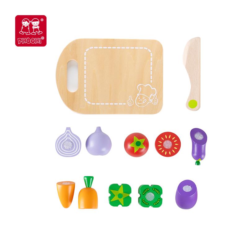 Phoohi игрушечный набор еды для детей, деревянная игрушка для резки овощей для детей