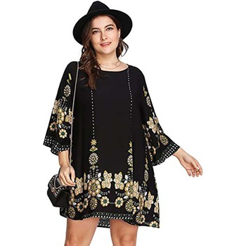 Women's Plus Size Boho Bohemian Tribal Print Summer Large Size xxl Dress