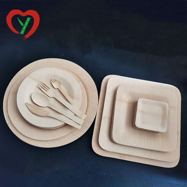 Eco-Friendly Compostable Reusable Dish Bamboo Plates Sets