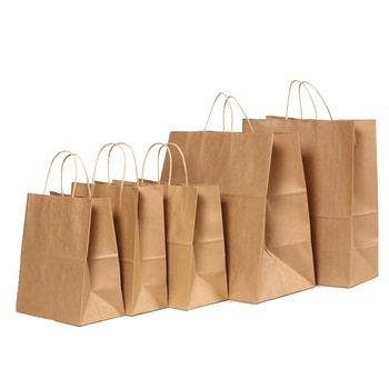 custom logo 100% Recyclable shopping gift kraft paper grocery bag Brown kraft paper bag with handle