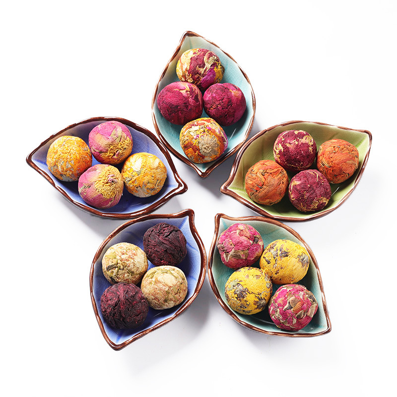 2021 NEW Hand-made Blooming Flower Tea Ball 10 Kinds of Natural Ingredients Dried Rose Petals Jasmine Lily Peony maintain beauty - 4uTea   4uTea.com