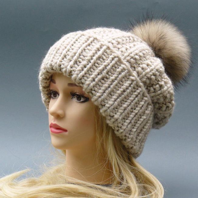 Chunky knit wool blend hat