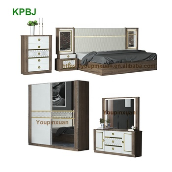 Customized House Furniture High Gloss Melamine MDF White Painted Wood Bedroom Sets Furniture