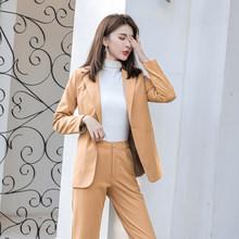 Осень 2020, новинка, 2 предмета, брюки, блейзер для женщин, корейский Костюм для интервью, блейзеры, женские повседневные офисные костюмы(Китай)