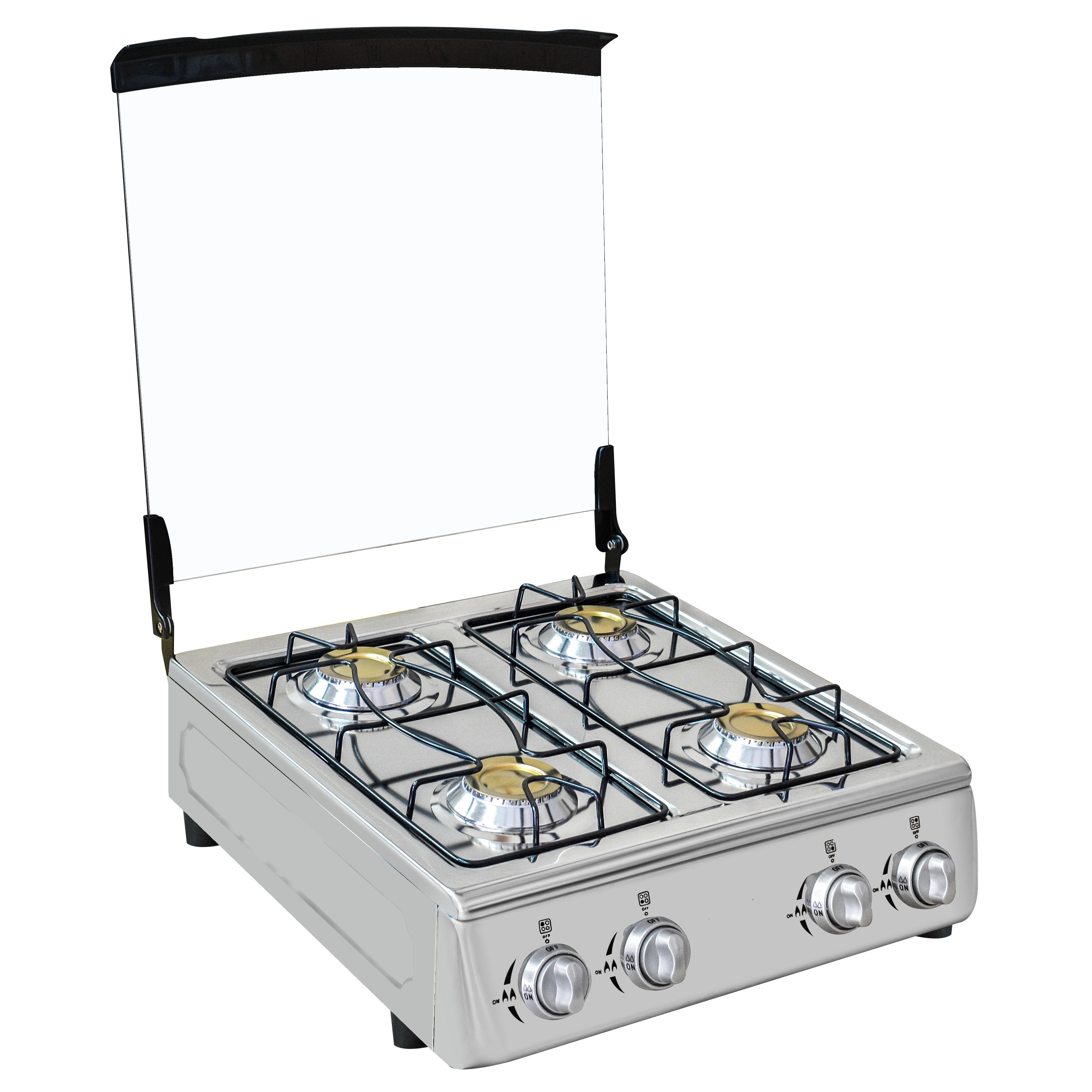 Stainless Steel 4 Burner Gas Cooker With Glass Lid Buy 4 Burner Gas Stove With Glass Lid Gas Burner 4 Burner Table Top Gas Cooker Product On Alibaba Com