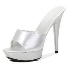 Женские шлепанцы на тонком каблуке 13 см, водонепроницаемые шлепанцы, сандалии на платформе, привлекательные туфли-лодочки для зачистки(Китай)