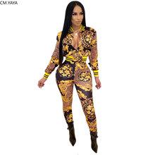 Зимний женский комплект, длинный рукав, Национальный принт, спортивный костюм, куртки, топы, штаны, костюм из двух частей, набор для ночного к...(Китай)