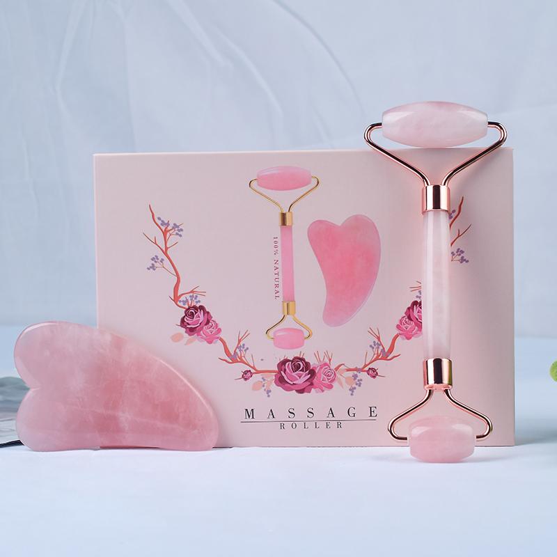 Amazon, хит продаж, высококачественный натуральный розовый кварц Gua Sha, Нефритовая доска, массажные инструменты для ухода за телом, 2019