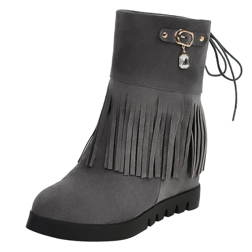 Botines de mujer de ante de moda cuña de borla de diamantes de imitación con cordones mantener el calor arranque corto mantener el calor zapatos Flock