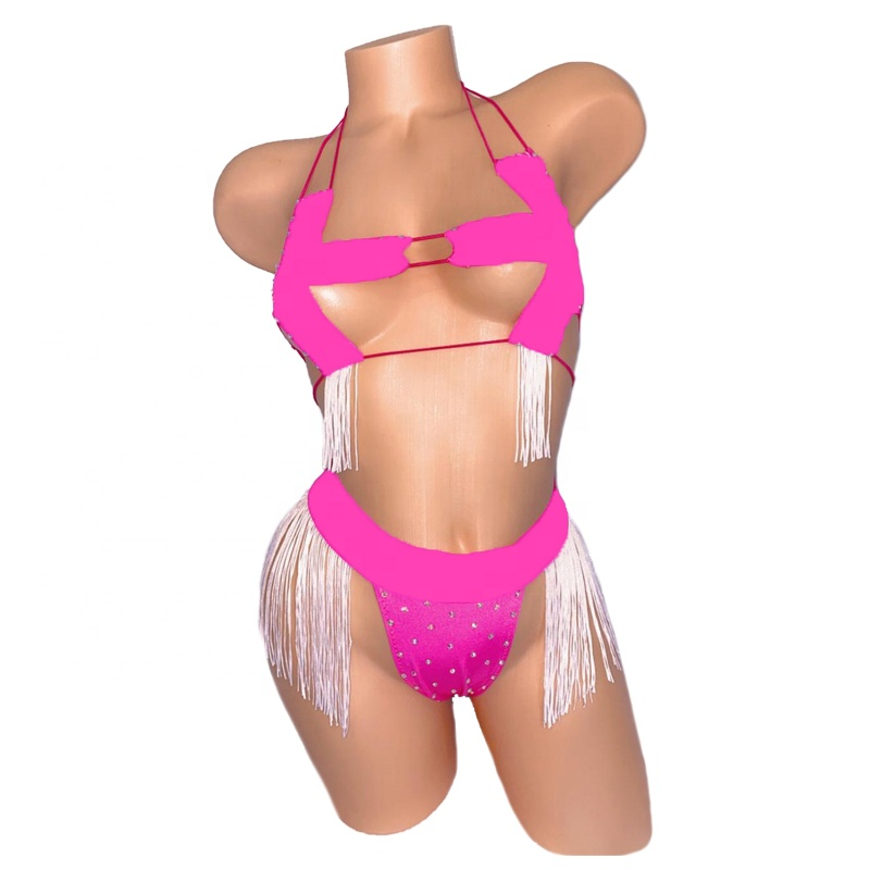 Rhinestones Exotic Dancewear Stripper Clothes Pole Dance Stripper Outfits