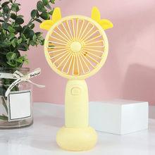 Usb мини-вентилятор для зарядки, Настольный ручной вентилятор с мультяшным оленем, электрический вентилятор с светильник, тихий, 3 скорости, р...(Китай)