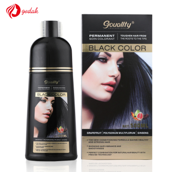 Guangzhou godak permanent natural magic fast dye black hair color shampoo
