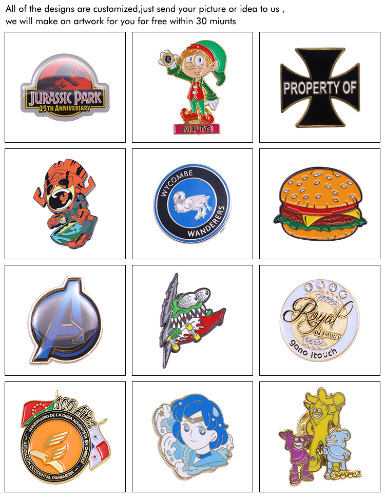Factory Promotional Bulk Cheap Custom Logo Metal Button Cartoon Character Badge