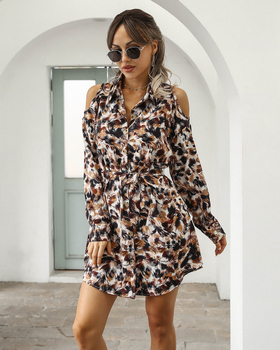 Women 2020 spring summer new style casual off-shoulder dress single-breasted printed cardigan korean fashion women outfit cloth