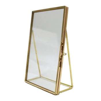 "4""/5""/6""/7""/8""/A4 Gold Brass picture frame Mid Century modern frames hold Glass photo picture frame"