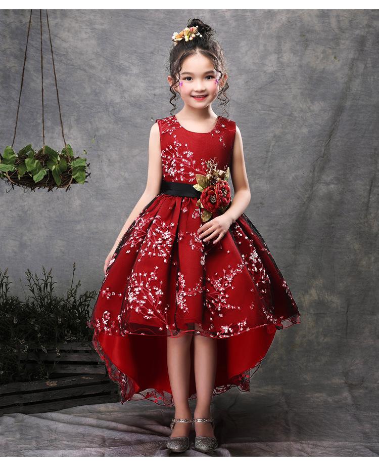KLS2153 кружевное платье принцессы без рукавов для девочек, платье для девочек с цветами, детское платье