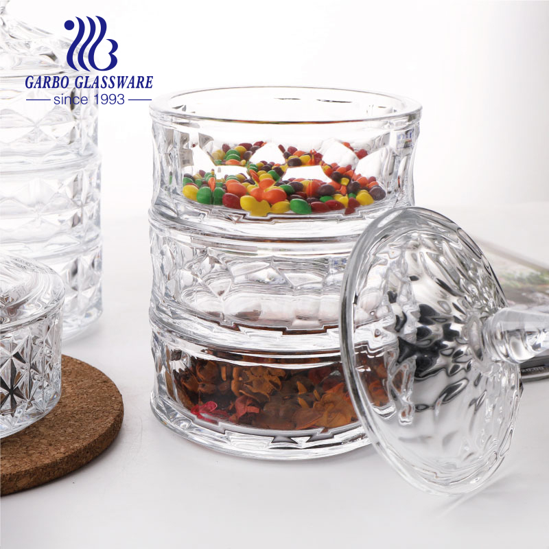Crystal Glass Snack Jar Stackable Candy Pot with cover Clear Home Decal Table Candy Canister Glass Candy Bowls