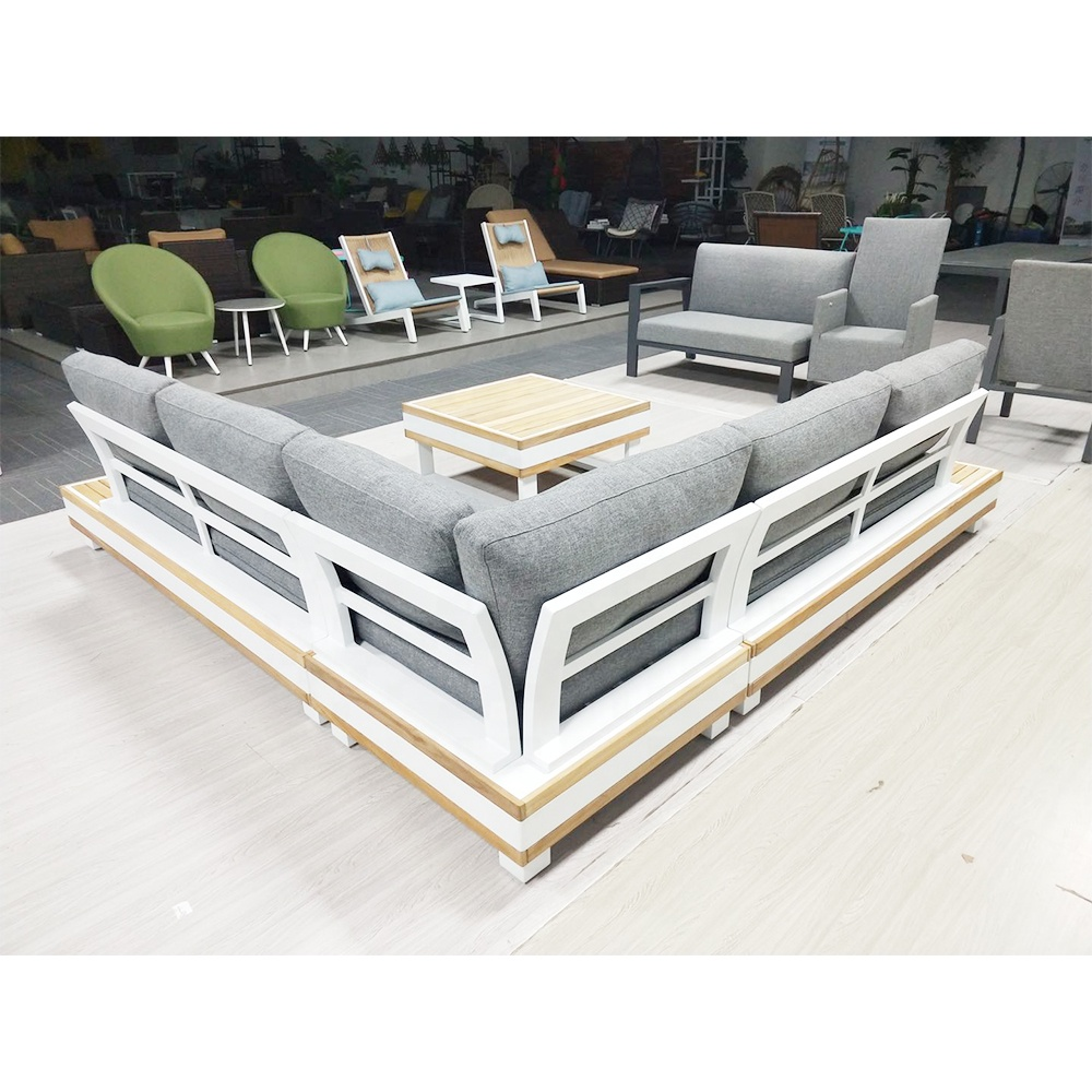 Fashionable Wood l Shaped Grey Couch Living Room Outdoor Sofa Garden Furniture Sofa Bed