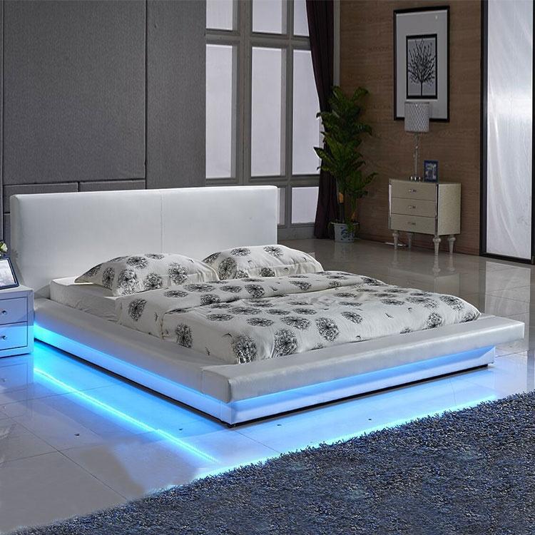 Modern premium new design soft mattress led leather bed with led lights