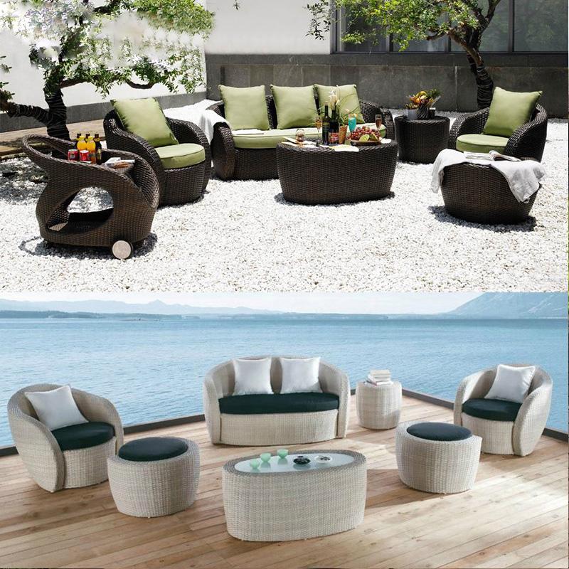 Набор белых садовых диванов из ротанга для дома и улицы