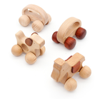 Wholesales Organic Beech Wooden Educational Toys With Wheels Animal Shaped Wood Car on Wheels for Kids Gift