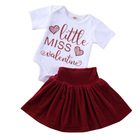 Toddler Pants Wholesale Toddler Kid Baby Girl Valentine Clothes Sets Letter Print Romper Top Flared Pants Skirt Outfits 0-24M
