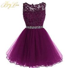 Короткое фиолетовое платье для выпускного вечера 2020, кружевное мини-платье с бисером для выпускного вечера размера плюс, короткое платье дл...(China)