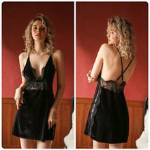 Женское осеннее кружевное соблазнительное Сексуальное белье, костюм, ночная сорочка, мини-платье, женская ночная сорочка, одежда для сна(Китай)