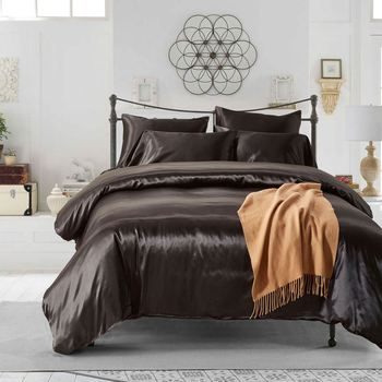 Factory Wholesale King Queen King Full Size 100% Silk Bedding Set Bed Sheet