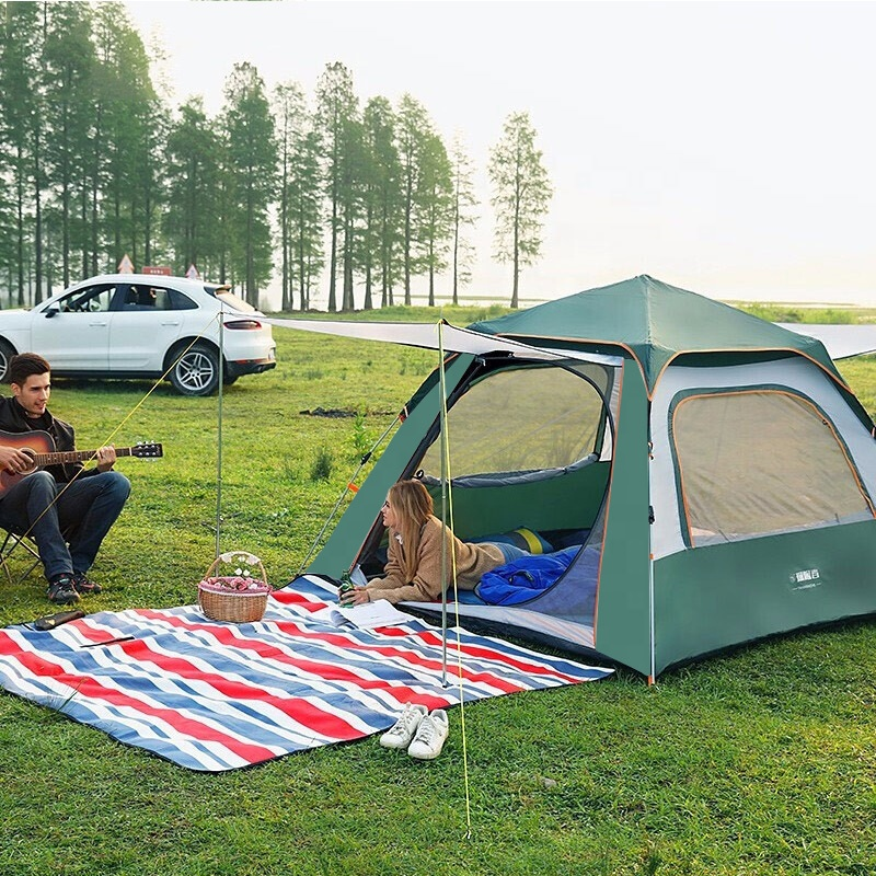 Automatic pop up tent rainproof Sun protection folding large space family camping tent 4 person one room and one hall