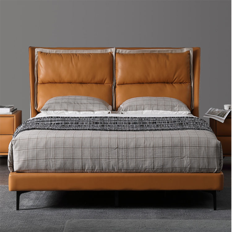 Nordic genuine leather double marriage web celebrity bed