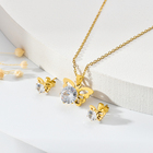 Jewelry Set Vendors Dubai Style Gold Plated Earrings Women Rhinestone Necklace Kids Jewelry Set Girls