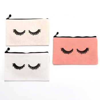 Custom Logo Eco Friendly Cosmetic bag Canvas Cotton Polyester Zipper Eyelash Cosmetic Make Up Pouch Storage Bag