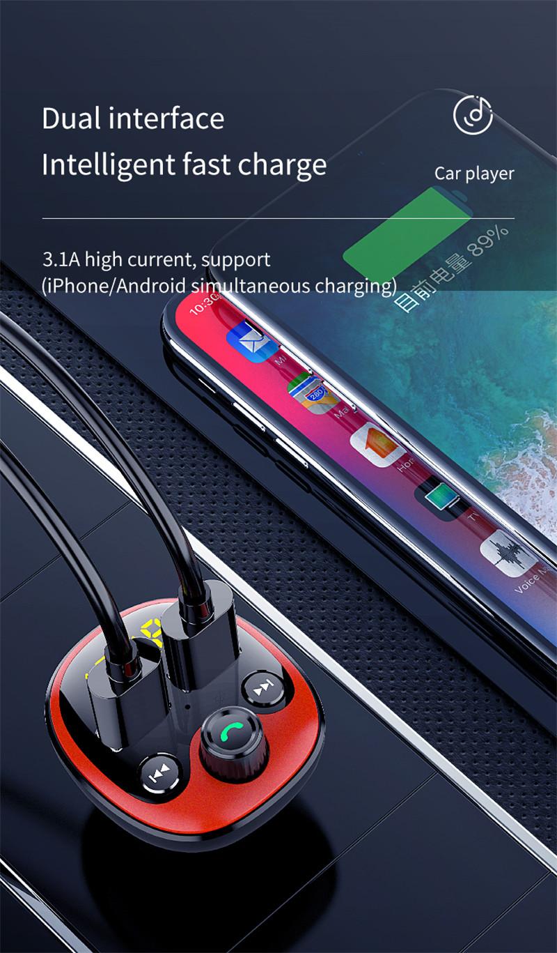 2021 Dropshipping New LED BT radio FM Transmitter Car kit Dual USB Car Charger dual Port USB MP3 Music Player support TF/U Disk