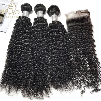 cambodian curly Cuticle aligned remy raw virgin hair bundles with closures indian 12a Jerry curly hair extension