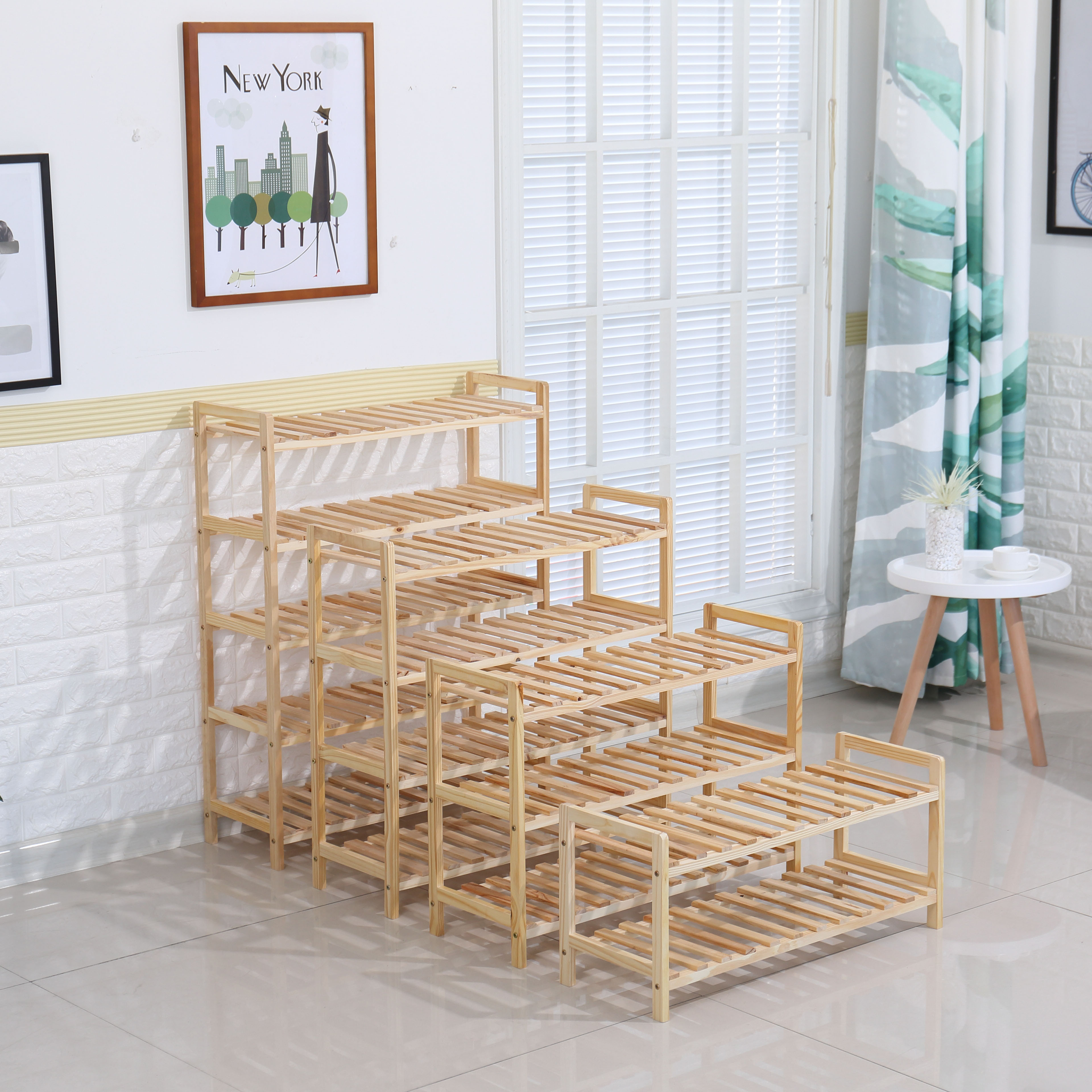 RTS Product Wooden 4tiers Shoe Racks shoe storage Cabinet