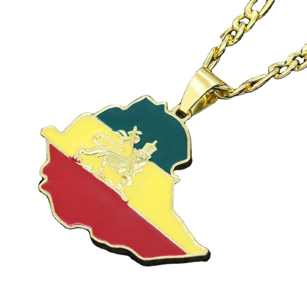 Ethiopia Ethiopian Flag Pendant /& Necklace