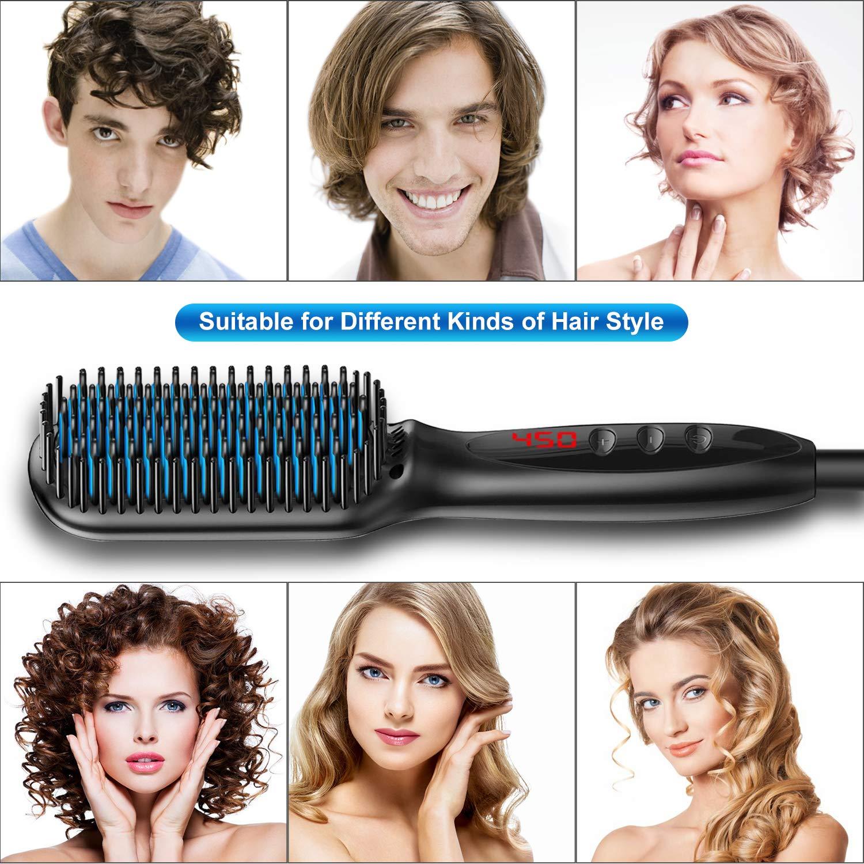 Мужской выпрямитель для бороды быстрое керамическое Домашнее использование Электрический Выпрямитель для волос для бороды быстрое Стайлинг щетка для выпрямления