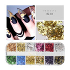 Nail Art Nails 12 Colors/box DIY Nail Decoration Glitter Colorful Gold Foil Flakes Stickers Nail Art Gold Foil For Nails
