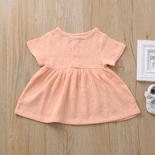 Детские платья для девочек, костюм принцессы, летнее платье для маленьких девочек, хлопковая и льняная одежда, детское повседневное платье ...(Китай)