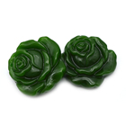 Natural green jade carving pendant lucky charm rose flower pendant