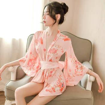 Japanese traditional style kimono pink sexy lingerie japan