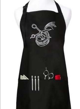 Poly cotton beauty apron with customized rhinestones logo