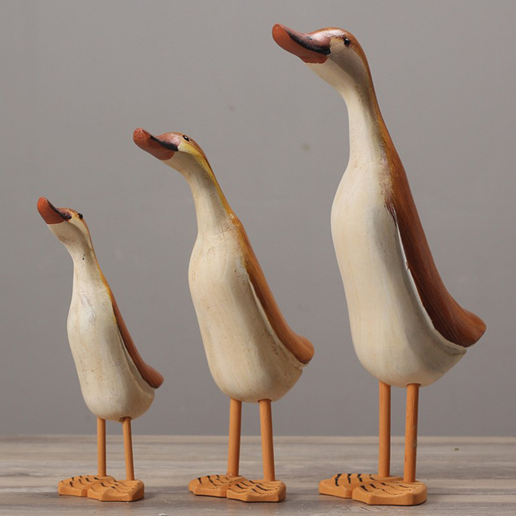 2 Packs Cute Couple Ducks Ornaments Decorative Duck Figurines Hand-carved Crafts