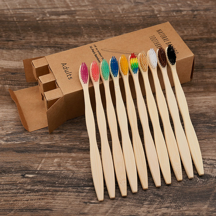 wholesale eco friendly charcoal bristles toothbrushes 10 pack adults natural biodegradable bamboo toothbrush