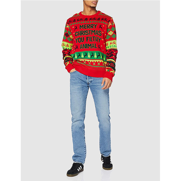 Hot Selling High Quality Mens Knit Jacquard Ugly Christmas Sweater