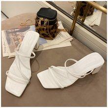 SUOJIALUN/женские летние уличные сандалии; Женские брендовые шлепанцы на высоком квадратном каблуке; Элегантные женские шлепанцы(Китай)