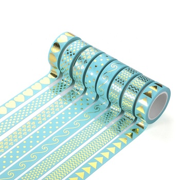 Hot sale 8 Roll Washi Tape Set blue Gold Foil Decorative Scrapbooking Tape for Craft DIY Wrapping