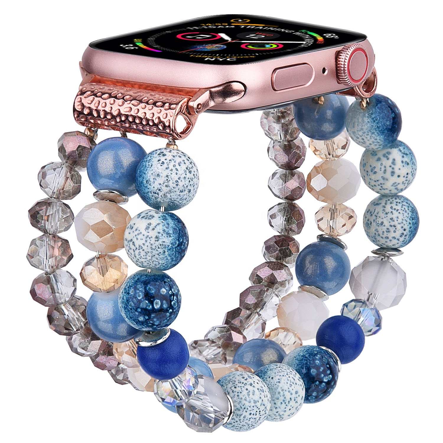 Fashion Ladies Pearl Beads Watch Straps for Apple Watch Women Designer Handmade Elastic Luxury Charm Pearl Strap for iWatch 6
